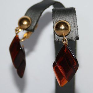 Vintage gold and amber Avon clip on earrings